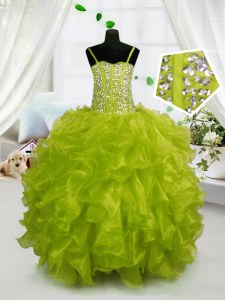 Fashionable Yellow Green Lace Up Kids Pageant Dress Beading and Ruffles Sleeveless Floor Length