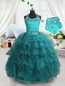Eye-catching Ruffled Ball Gowns Little Girl Pageant Gowns Turquoise Spaghetti Straps Organza Sleeveless Floor Length Lace Up