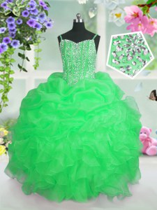 Super Floor Length Lace Up Pageant Gowns For Girls for Party and Wedding Party with Beading and Ruffles and Pick Ups