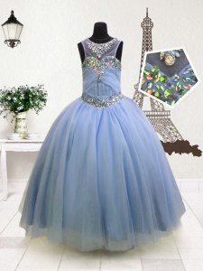 Scoop Light Blue Sleeveless Floor Length Beading and Ruffles Zipper Little Girls Pageant Dress Wholesale