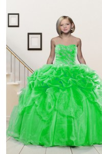 Pick Ups Floor Length Ball Gowns Sleeveless Girls Pageant Dresses Lace Up