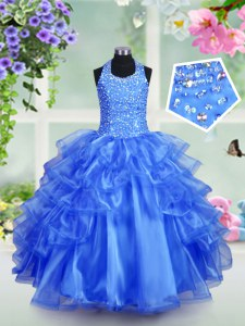 Beauteous Halter Top Royal Blue Ball Gowns Beading and Ruffled Layers Little Girl Pageant Gowns Lace Up Organza Sleeveless Floor Length