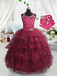 Unique Scoop Sleeveless Organza Floor Length Lace Up Pageant Gowns in Watermelon Red with Beading and Ruffled Layers