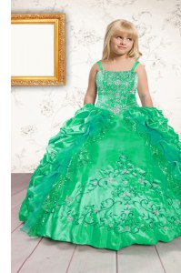 Spaghetti Straps Sleeveless Pageant Dress Toddler Floor Length Beading and Appliques and Pick Ups Green Satin