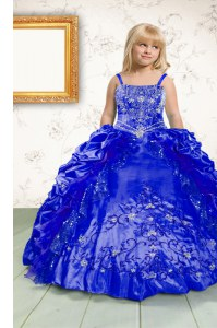 Pick Ups Royal Blue Sleeveless Satin Lace Up Kids Pageant Dress for Party and Wedding Party