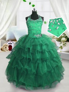 Scoop Sleeveless Floor Length Beading and Ruffled Layers Lace Up Girls Pageant Dresses with Peacock Green