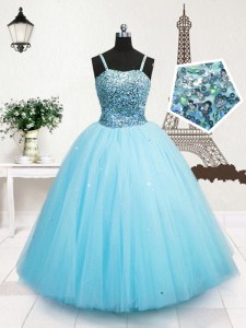 Sequins Ball Gowns Little Girls Pageant Gowns Turquoise Spaghetti Straps Tulle Sleeveless Floor Length Zipper