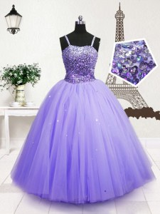 Fantastic Blue Zipper Spaghetti Straps Beading and Sequins Child Pageant Dress Tulle Sleeveless