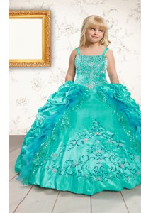 Sleeveless Lace Up Floor Length Beading and Appliques and Pick Ups Little Girls Pageant Gowns