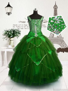 Cute Dark Green Pageant Dress for Teens Party and Wedding Party and For with Beading and Sashes ribbons Straps Sleeveless Lace Up