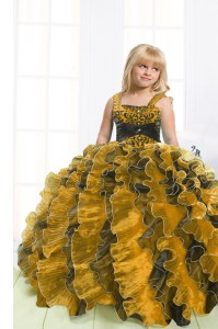 Stunning Multi-color Straps Lace Up Beading and Ruffles Girls Pageant Dresses Sleeveless