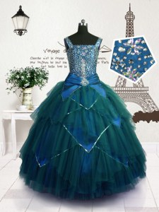 Floor Length Ball Gowns Sleeveless Teal Pageant Dress for Teens Lace Up