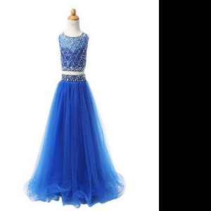 High Quality Blue Pageant Gowns For Girls Party and Wedding Party and For with Beading Scoop Sleeveless Zipper