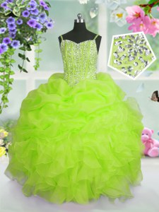 Trendy Yellow Green Spaghetti Straps Lace Up Beading and Ruffles and Pick Ups Little Girls Pageant Dress Sleeveless