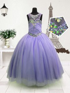 High Quality Organza Sleeveless Floor Length Pageant Gowns and Beading