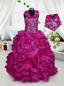 Custom Design Halter Top Sleeveless Little Girl Pageant Gowns Floor Length Beading and Ruffles Fuchsia Taffeta