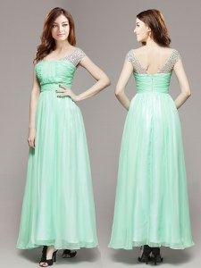 Customized Apple Green Sleeveless Ankle Length Beading Zipper Mother Dresses