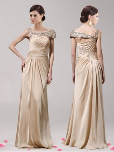 Free and Easy Floor Length Side Zipper Mother of the Bride Dress Champagne for Prom with Beading