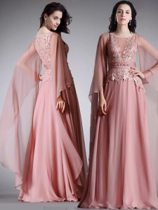 Custom Design Scoop 3 4 Length Sleeve Mother Dresses Floor Length Lace and Belt Pink Chiffon