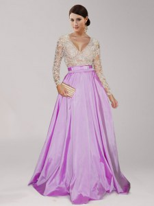 Long Sleeves Floor Length Zipper Mother of Bride Dresses Lilac for Prom with Beading and Belt