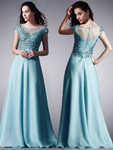 Scoop Light Blue Cap Sleeves Floor Length Appliques Zipper Mother Dresses