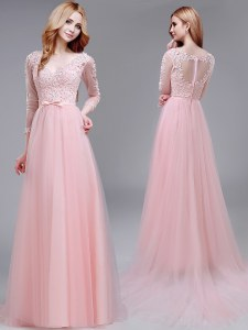 Dazzling With Train Baby Pink Mother of Groom Dress V-neck 3 4 Length Sleeve Brush Train Zipper