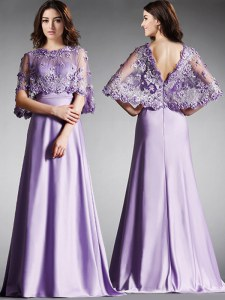 Hot Selling Scoop Lavender Satin Zipper Mother of the Bride Dress Half Sleeves Floor Length Lace