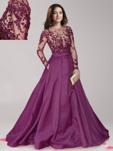 Scoop Dark Purple Long Sleeves Taffeta Brush Train Zipper Mother of Bride Dresses for Prom