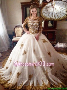 Exquisite White Vestidos de Quinceanera Military Ball and Sweet 16 and Quinceanera and For withAppliques Scoop Long Sleeves Chapel Train Zipper