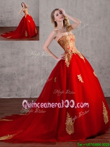 Attractive Red Tulle Lace Up Quinceanera Gowns Sleeveless With Train Court Train Appliques