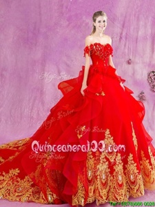 Hot Selling Off the Shoulder Red Sleeveless Court Train Beading and Appliques and Ruffles With Train 15th Birthday Dress