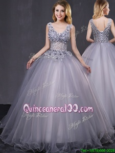 Stylish Tulle Sleeveless Lace Up Appliques Sweet 16 Dress inGrey