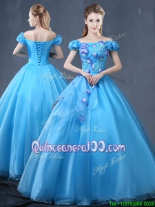 Graceful Baby Blue Ball Gowns Organza Off The Shoulder Short Sleeves Appliques Floor Length Lace Up Quinceanera Gown