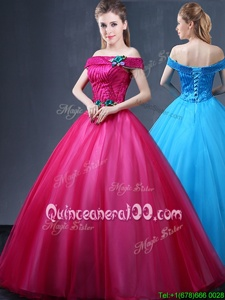Fantastic Off the Shoulder Sleeveless Floor Length Beading and Appliques Lace Up Quinceanera Gown with Fuchsia