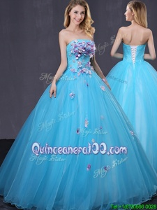 Pretty Baby Blue Strapless Lace Up Appliques Sweet 16 Dresses Sleeveless