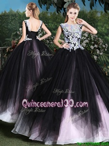 Most Popular Pink And Black Sweet 16 Dresses Military Ball and Sweet 16 and Quinceanera and For withAppliques and Ruffles Scoop Sleeveless Lace Up