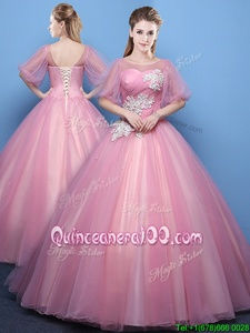 Pink Scoop Lace Up Appliques Quinceanera Gown Half Sleeves