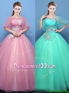 Scoop Half Sleeves Lace Up Floor Length Appliques Quinceanera Dresses