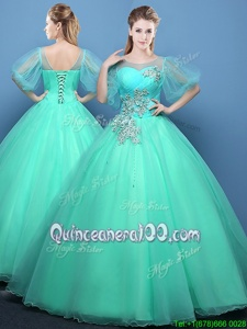 Graceful Organza Scoop Half Sleeves Lace Up Appliques Ball Gown Prom Dress inTurquoise