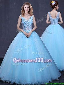 Stunning Floor Length Light Blue Sweet 16 Quinceanera Dress Tulle Sleeveless Spring and Summer and Fall and Winter Lace and Appliques