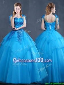 Stylish Baby Blue Ball Gowns Appliques Ball Gown Prom Dress Lace Up Tulle Sleeveless Floor Length