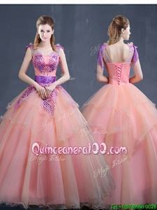 Colorful Sleeveless Floor Length Appliques Lace Up Quinceanera Gown with Watermelon Red
