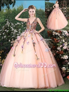 Sweet Appliques Quince Ball Gowns Peach Lace Up Sleeveless With Brush Train