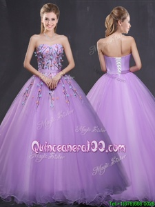 Noble Sweetheart Sleeveless Lace Up Sweet 16 Dress Lavender Tulle