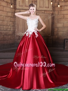 Perfect Elastic Woven Satin Scoop Sleeveless Lace Up Lace and Appliques Quinceanera Gowns inWine Red