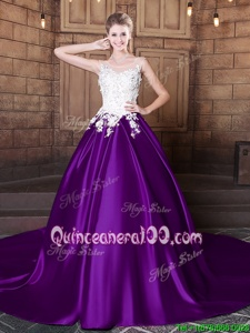 Captivating Scoop Purple Sleeveless Lace and Appliques Lace Up 15 Quinceanera Dress