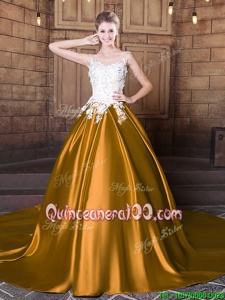 Fashionable Scoop Gold Lace Up Quinceanera Gowns Lace and Appliques Sleeveless Floor Length Court Train