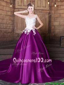 Fantastic Eggplant Purple Lace Up Scoop Lace and Appliques Quinceanera Dresses Elastic Woven Satin Sleeveless Court Train