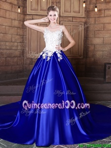 Sophisticated Royal Blue Ball Gowns Elastic Woven Satin Scoop Sleeveless Appliques With Train Lace Up Quinceanera Dress Court Train