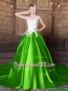 Affordable Floor Length Spring Green Vestidos de Quinceanera Scoop Sleeveless Lace Up